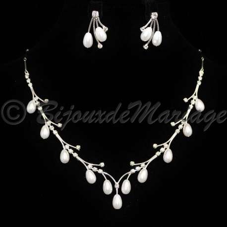 Parure bijoux mariage UNE FÉE, cristal et perles, structure ton argent