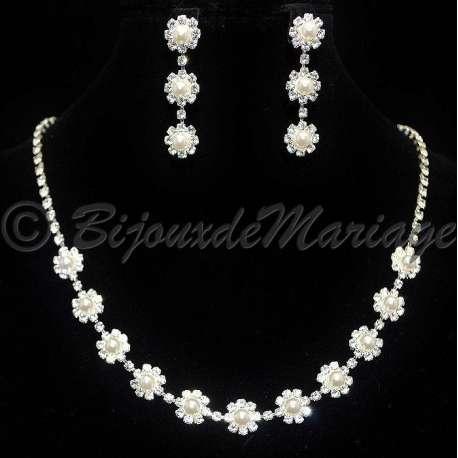 Parure mariage EN FLEURS, cristal et perles, structure ton argent