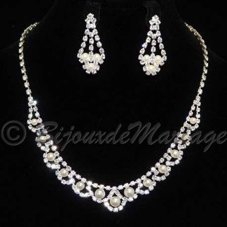 Parure mariage ENLACÉE, cristal et perles, structure ton argent