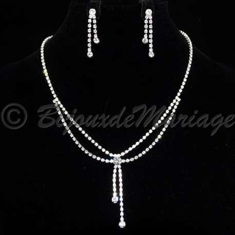 Parure bijoux MALICE, cristal, structure ton argent