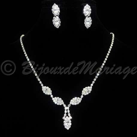 Parure de bijoux mariage LARME, cristal, structure ton argent