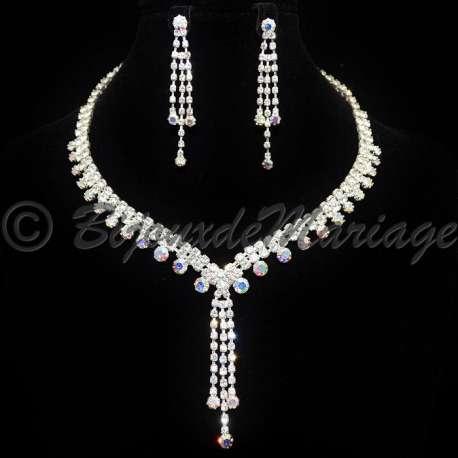 Parure bijoux AURORA, cristal AB, structure ton argent
