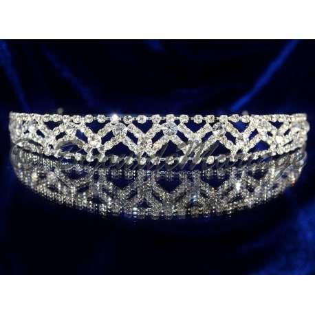 Diademe mariage MERVEILLE 1, cristal, structure ton argent