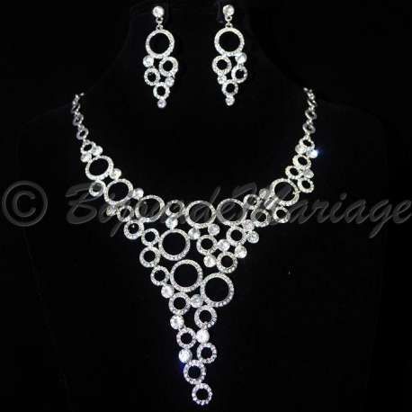 Parure bijoux REINES DE ROUEN, cristal clair, structure rhodiée