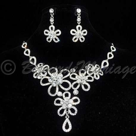 Parure bijoux ÉCLATS DE FLEURS, cristal, structure rhodiée