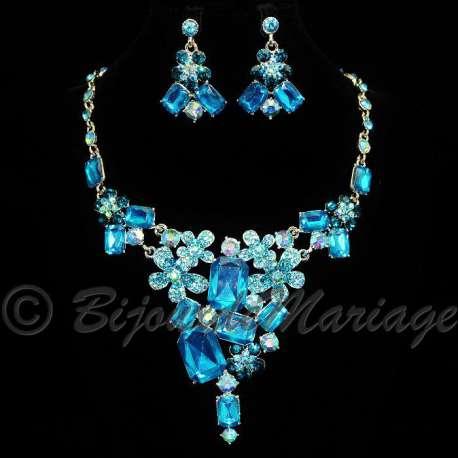 Parure bijoux Soirée, cristal multicolor, structure rhodiée