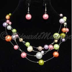 Parure bijoux femme Kéa, perles multicolores, structure ton argent