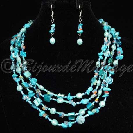 Parure bijoux SKAT, pierres turquoise, structure ton argent