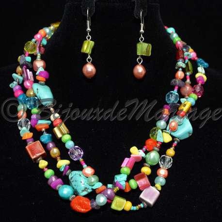 Parure bijoux Capella, pierres multicolores, structure ton argent