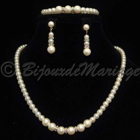 Parure mariage ORION, perles et cristal, structure ton or
