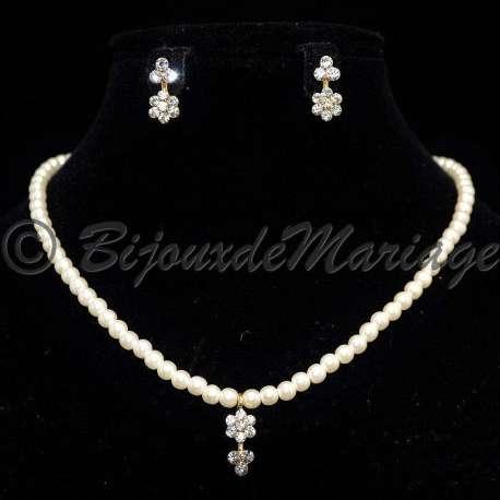 Parure mariage enfant LIA, perles et cristal, structure ton or