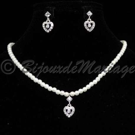 Parure mariage DIANE, perles et cristal, structure ton argent