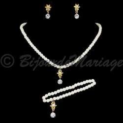 Parure mariage enfant FLORA, perles et cristal, structure ton or