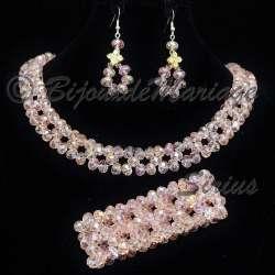 Parure bijoux avec bracelet SIRIUS, coloris verre rose, structure ton argent
