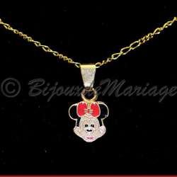 Parure bijoux enfant MINNIE, structure ton or, détail pendentif et sa chaîne