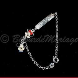 Parure bijoux enfant MINNIE, structure ton argent, détail bracelet