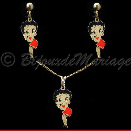 Parure bijoux Betty Boop, structure ton or