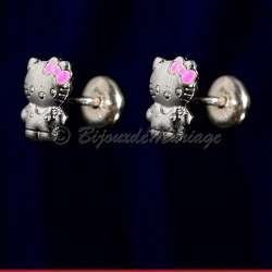 Boucles d'oreilles Kitty en argent, fermeture par clips pression