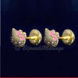 Boucles d'oreilles frimousse Kitty, structure doré, fermeture par clips pression