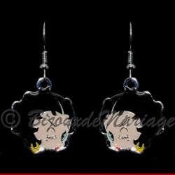 Boucles d'oreilles Betty Boop , le clin d'œil, structure ton argent