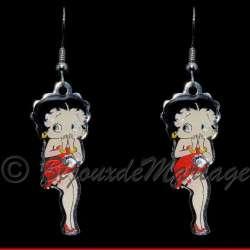 Boucles d'oreilles Betty Boop s'exclame, structure ton argent