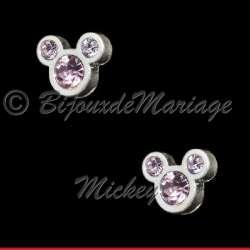 Boucles d'oreilles Mickey, cristal rose tendresse, structure ton argent