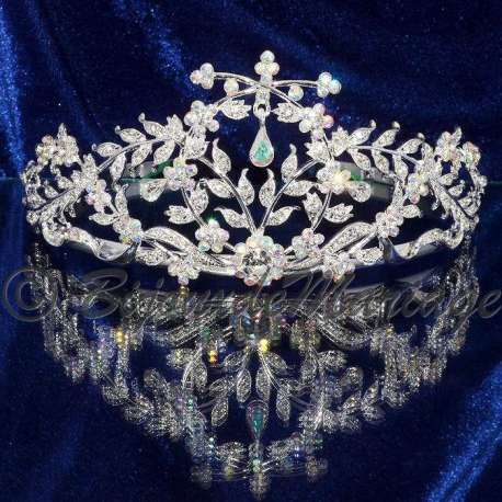 Diademe mariage Murmure, cristal AB, structure ton argent