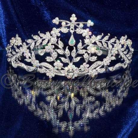 Diademe mariage Murmure, cristal AB, structure ton argent