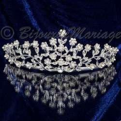 Diademe mariage Cupidon, cristal et perles, structure ton argent