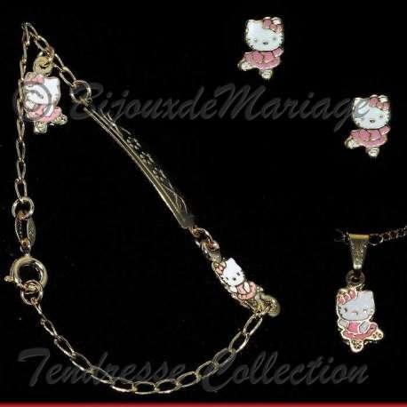 Parure de bijoux Kitty la Ballerine, structure ton or