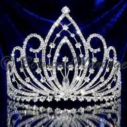 Diadème couronne Miss Athéna, cristal, ton argent