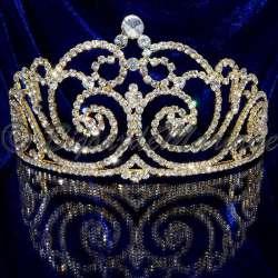 Coronne diadème de Miss Héra, cristal, ton or