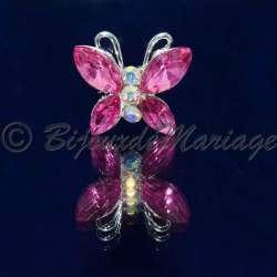 Epingle à cheveux, pic chignon papillon, cristal rose, ton argent