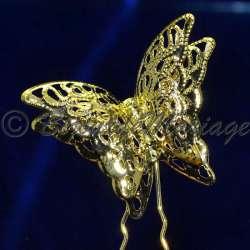 Epingle à cheveux, pic chignon, papillons, ton or