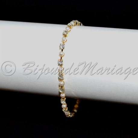 Bracelet mariage 1 rang, cristal et perles, ton or