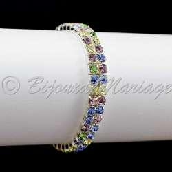 Bracelet mariage 2 rangs, multicilore