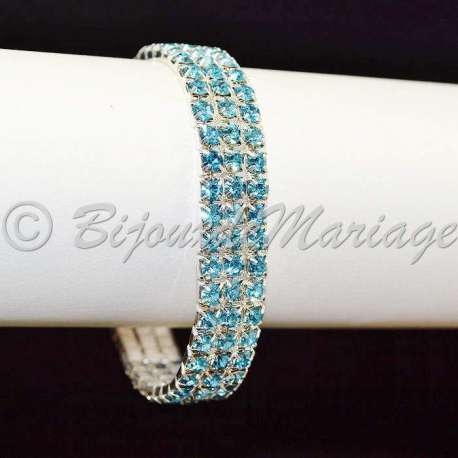Bracelet mariage 3 rangs, aqua