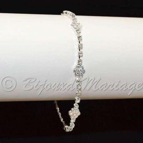 Bracelet mariage 3 fleurs, cristal AB, ton argent
