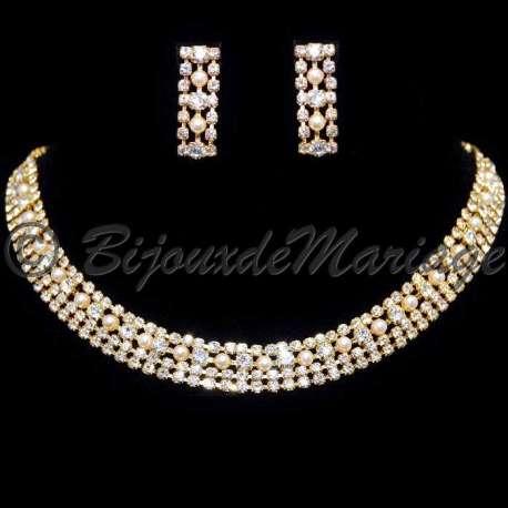 Parure mariage Aude, perles, ton or