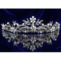 Diademe mariage DOUCEUR, cristal et perles, structure ton argent