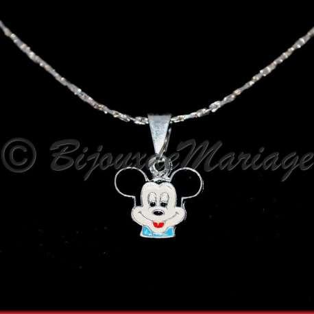 Pendentif bijou enfant , chaîne, Mickey, ton argent