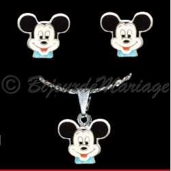 Parure de bijoux pour enfant, Mickey, collier et boucles d'oreilles, ton argent