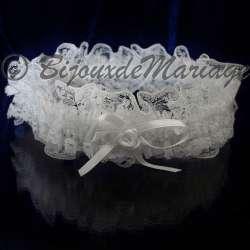 Jarretière de mariage, coloris blanc