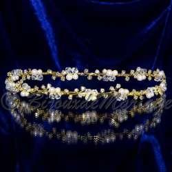 Diadème mariage PINK, perles, ton or