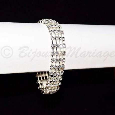 Bracelet mariage 4 rangs, fermeture par clip, ton argent