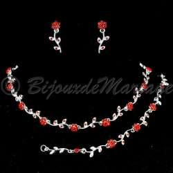 Parure mariage 3 pièces, Florale, rouge rubis, ton argent