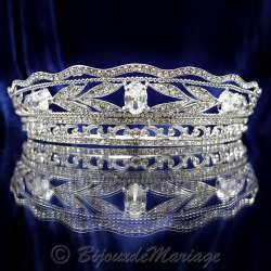 Diademe mariage royal CASTILLE, diamant blanc, structure rhodiée