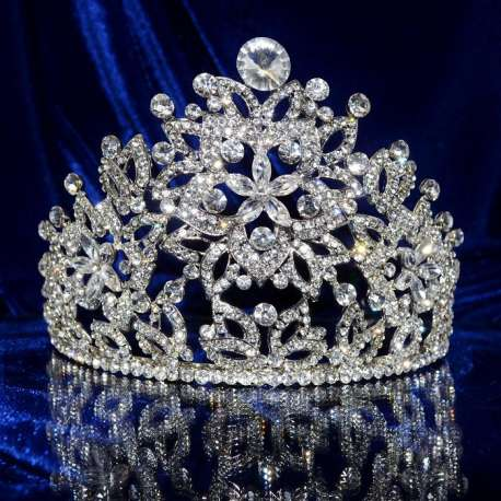 Diademe mariage, couronne de Miss, Mascarade, ton rhodié