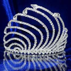 Diademe mariage ONDE, cristal, structure ton argent