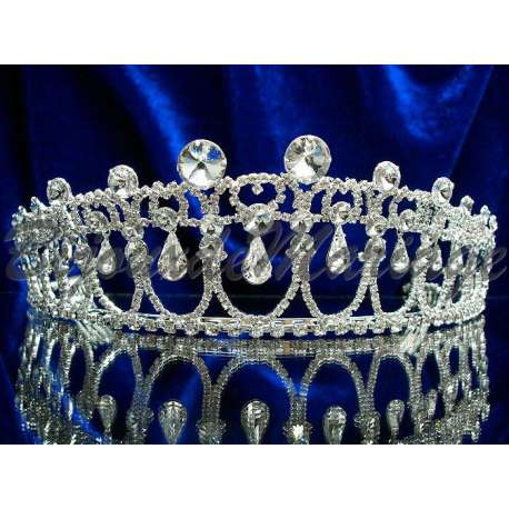 Diademe mariage LADY DI, cristal, structure ton argent